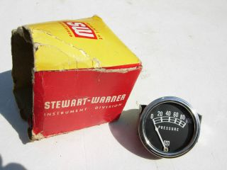 NOS STEWART WARNER 2 1/16 OIL PRESSURE GAUGE 100 LB. GASSER HOT ROD
