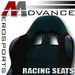 JDM Black Fabric & PVC Leather Racing Bucket Seats+Sliders New 21