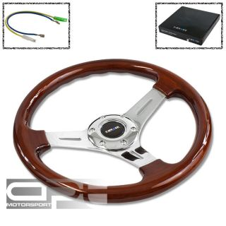 NRG 330MM DEEP DISH 6 HOLE WOOD GRAIN STEERING WHEEL 3 SPOKE CHROME