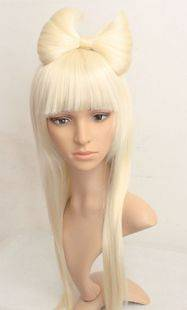 Lady Gaga Blonde Straight Wig +CLIP GAGA BOW Cosplay wigs