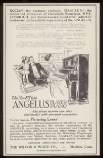 1911 Angelus upright player piano vintage print ad