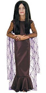 Girls Morticia Halloween Costume Addams Family Black Gown Adams