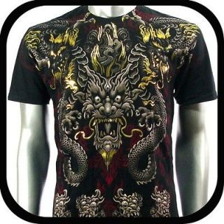Artful Couture T Shirt Indie Tattoo Rock Vtg AB18 Sz M Graffiti Dragon
