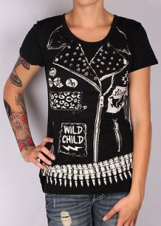 ABBEY DAWN BY AVRIL LAVIGNE WOMENS WILD CHILD BLACK SHORT SLEEVE T