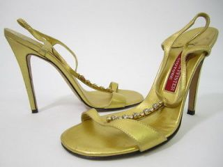 PFISTER COUTURE Gold Tone Leather Jeweled Sandals Sz 37 7 PAULA ABDUL