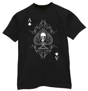 Ace of Spades shirt Skull Biker Playing Card T shirt