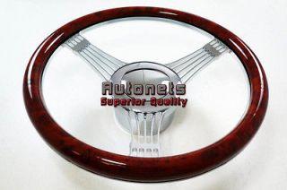 Wood Veneer Banjo Chevy Buick Pontiac Aluminum Steering Wheel Horn