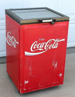 Industrial COCA COLA ICE CHEST COOLER FREEZER Wheels RED METAL w LID