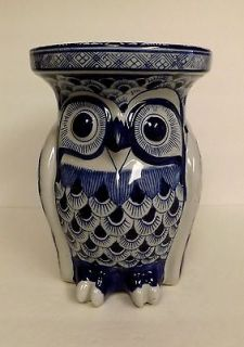 and White Hand Painted Heavy Ceramic OWL Garden Plant Stand End Table