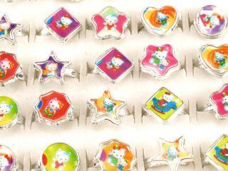 Multicolor 72pcs Resin Hello Kitty Cartoon Children Rings Adjustable