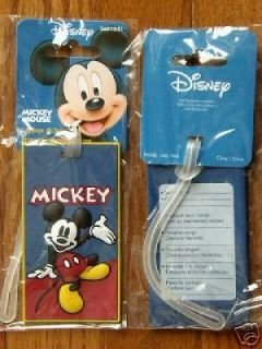 New Disney Mickey Mouse Luggage Name ID Tag Travel Tote Bag Suitcase