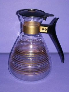 Vintage Pyrex Coffee 8 Cup Glass Carafe Decanter Pot Gold Stripe
