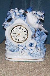 Blue & White Linden Wind Up Blue Jay Mantel Alarm Clock MINTY