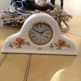 LINDEN CERAMIC HAND PAINTED FLORAL MANTEL STYLE CLOCK SO CHARMING