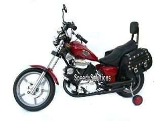 Kids Electric Power Harley Style Ride On Motorcycle Wheels Saddle Bags