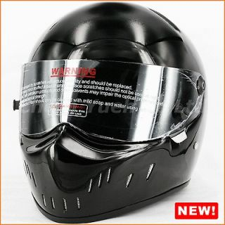 Fiberglass Motorcycle Street Bike Chopper Full Face Helmet Black DOT