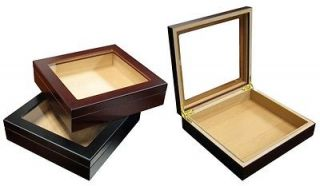 20 Count Cherry Wood Glass Top DeskTop Cigar Humidor with Humidifier