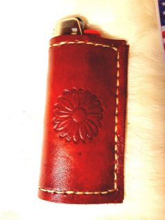 Stamped Handmade Leather Cigarette Lighter Case *Made by Andrew Olger