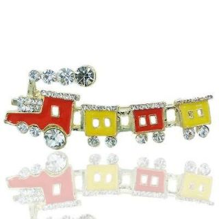 Cute Puddle Jumper Pin Brooch Rhinestone Crystal Little Train Enamel