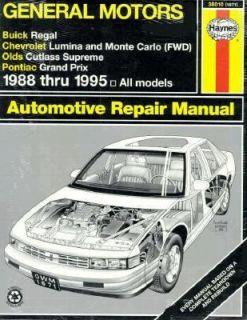 Haynes Buick Regal Chevrolet Lumina Oldsmobile Cutlass Supreme and
