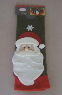 New TRIM A HOME Green Felt CHRISTMAS TREE SKIRT Santa Claus Snowflakes