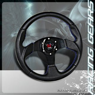 320mm 6 Hole Black Center / Black PVC Leather Steering Wheel Integra