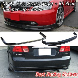 01 03 Civic 4dr Mugen Front + RS Rear Bumper Lip (Fits Honda Civic EX