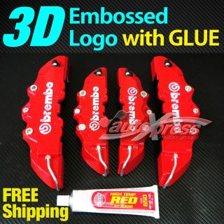 3D RED BREMBO Style Brake Caliper Covers 4 Pcs Front & Rear UNIVERSAL