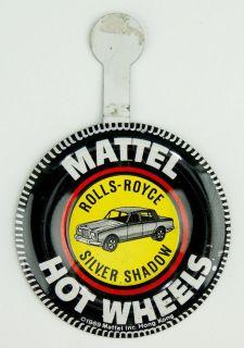 1969 Hot Wheels Pin Badge ROLLS ROYCE SILVER SHADOW Redline Car