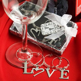25 LOVE Wine Glass Marker Charm Bridal Shower Wedding Favors Bulk Lot