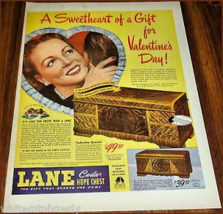 1946 LANE CEDAR HOPE CHEST Print AD Valentines Day Models 2120 & 2101