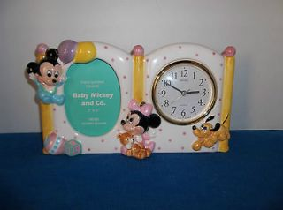 Mickey Mouse & Friends SEIKO Baby Clock and Frame NEW