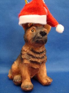German Shepherd Puppy Figurine Dog Statue Wearing Santa Hat Christmas