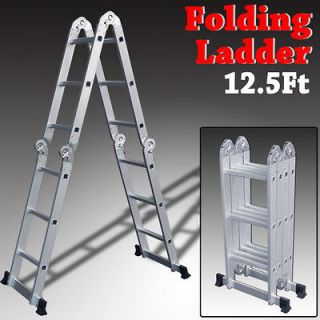 12.5Ft Multi Purpose Aluminum Ladder Folding Step Tools Extension