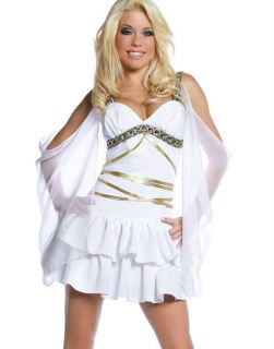 White Greek Roman Greek Sexy Aphrodite Goddess Halloween Costume S XL