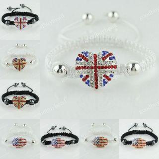 Silver Gold Crystal Union Jack/USA Flag Adjustable Bracelet 7.5 10