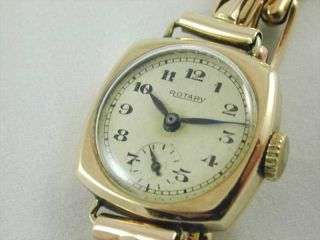 VINTAGE 9CT GOLD LADIES MECHANICAL ROTARY WRIST WATCH DATED 1945