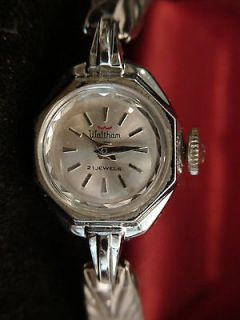 WALTHAM 21 JEWEL SILVER TONE LADIES SWISS VINTGE WATCH SERVICED WORKS
