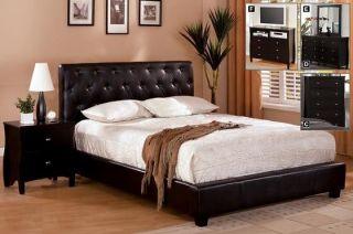 Concord Espresso Leatherette Modern Platform Bed