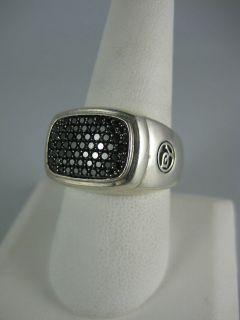 DAVID YURMAN STERLING SILVER BLACK DIAMONDS RING 10.25