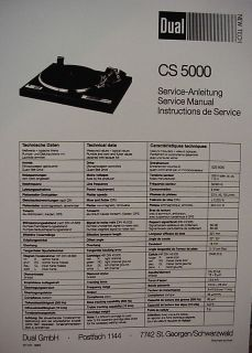 DUAL CS 5000 TURNTABLE SERVICE MANUAL 7 Pages