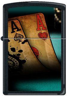 Zippo Double Aces Black Matte Windproof Lighter NEW Poker Pocket