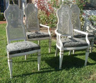 Vintage Pair HOLLYWOOD REGENCY French Provincial High Back ARMCHAIRS