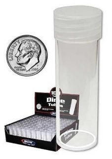 10) CLEAR PLASTIC ROUND TUBE DIME BCW COIN STORAGE HOLDERS