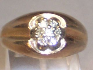 ESTATE MENS 14K YELLOW GOLD DIAMOND CLUSTER RING 9 GRS