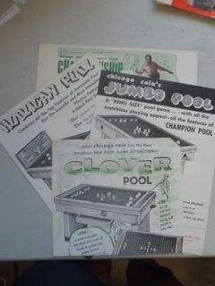 Vintage Chicago Jumbo Clover Pool Coin Operated Game Machine Brochure