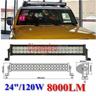 120w 8000 LUM led work light bar 12V 24v DC 24 inches for JEEP SUV