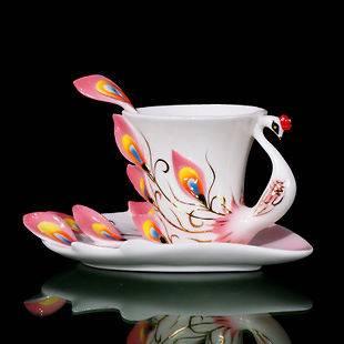 Peacock Porcelain Cafe Coffee Set/Tea Set 1Cup/1Saucer/1Spoon Mug