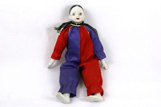 Vintage Porcelain Harlequin Clown Doll (AS IS)
