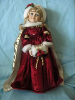 Beautiful 18 Collectible 1999 Doll dressed in red velvet with gold